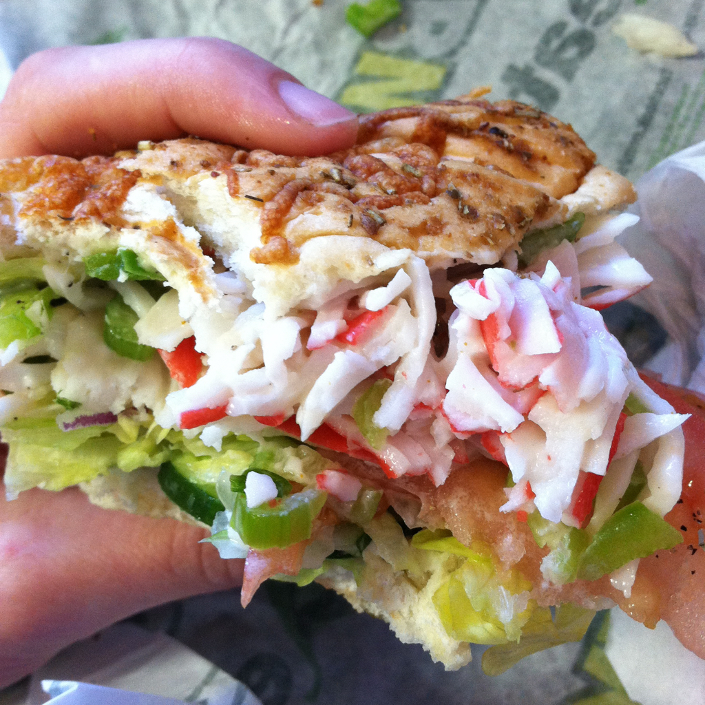 Yeah, seafood salad at a Subway. That should be fine.