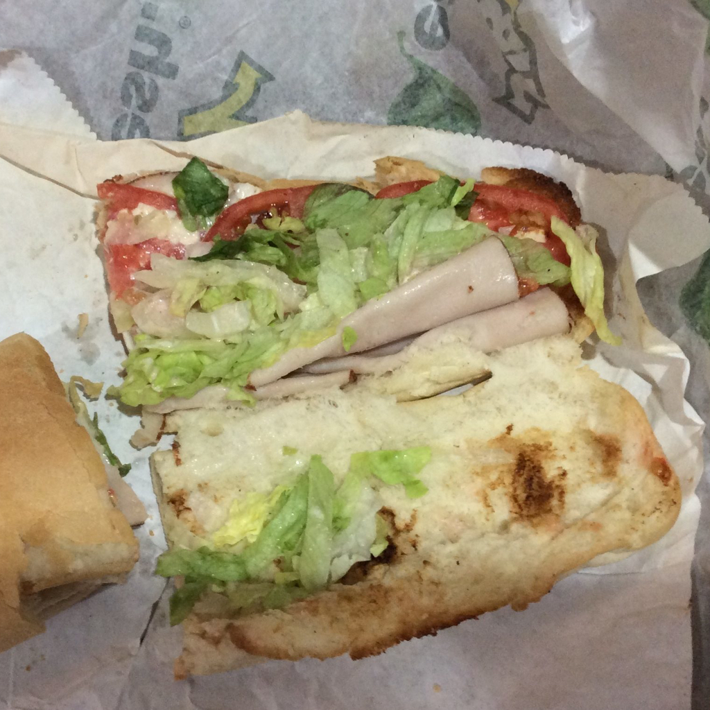 The glimmering sheen on this Subway turkey is reminiscent of an oil-soaked duck in Louisiana.